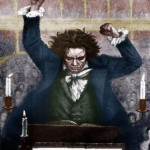 Ludwig van Beethoven conducting with baton - by Katzaroff . German composer 17 December 1770- 26 March 1827