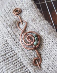 broş nota sol anahtarı müzik